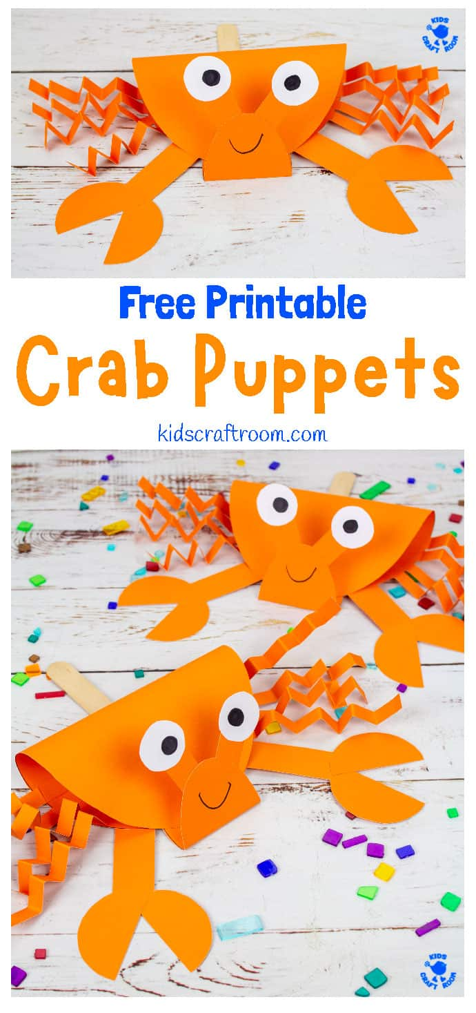 Crab Puppet Craft image for Pinterest 1