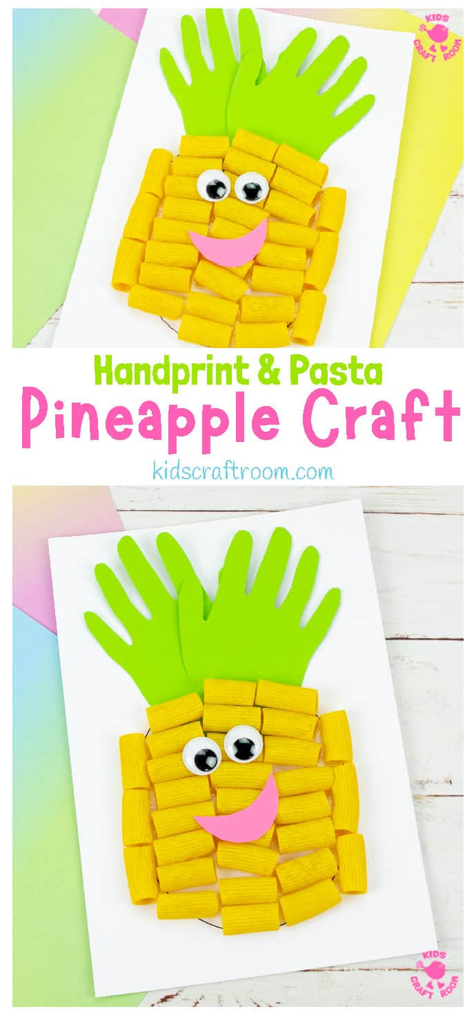 Pasta and Handprint Pineapple Craft pin image 1