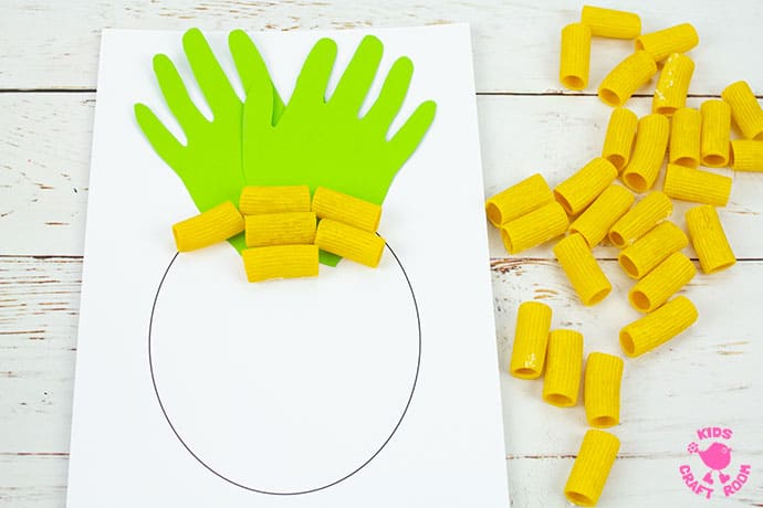Pasta and Handprint Pineapple Craft step 4