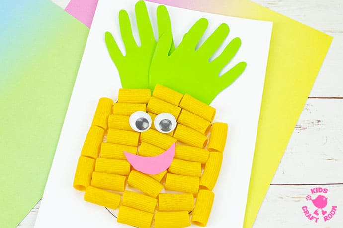 Pasta and Handprint Pineapple Craft step 5