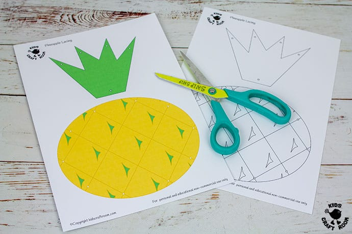 Lacing Pineapple Craft demonstration of step 1