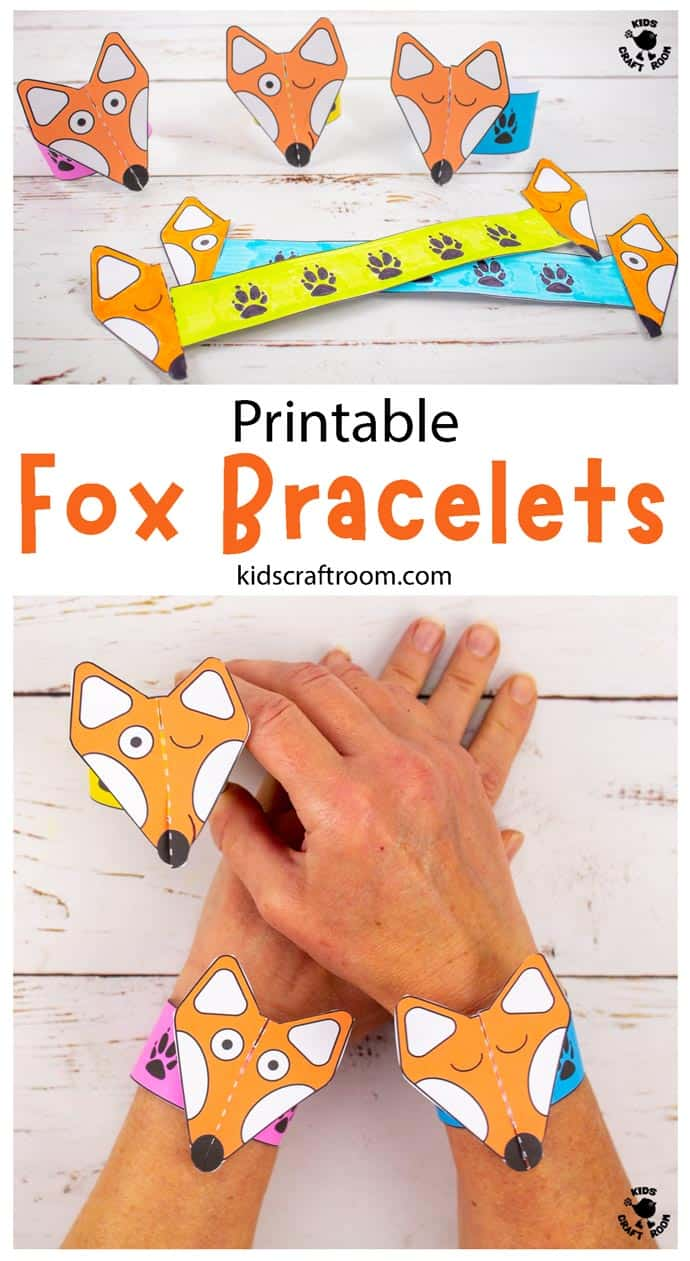 Printable Fox Paper Bracelets Craft pin 1