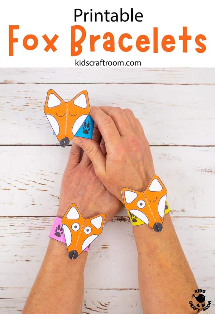 Printable Fox Paper Bracelets Craft pin 3