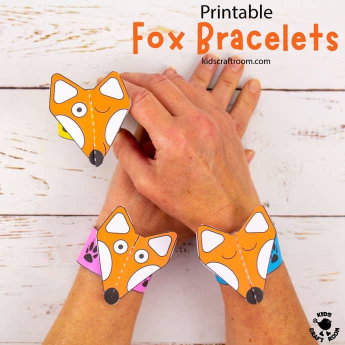 Printable Fox Paper Bracelets Craft pin 2