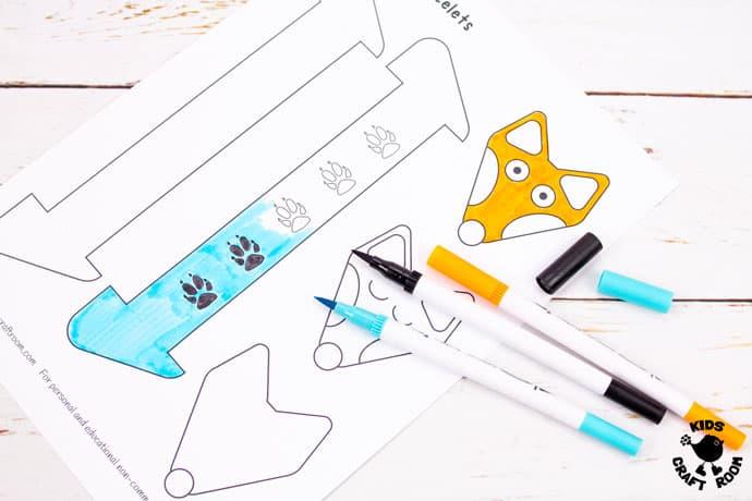 Printable Paper Fox Bracelets step 1