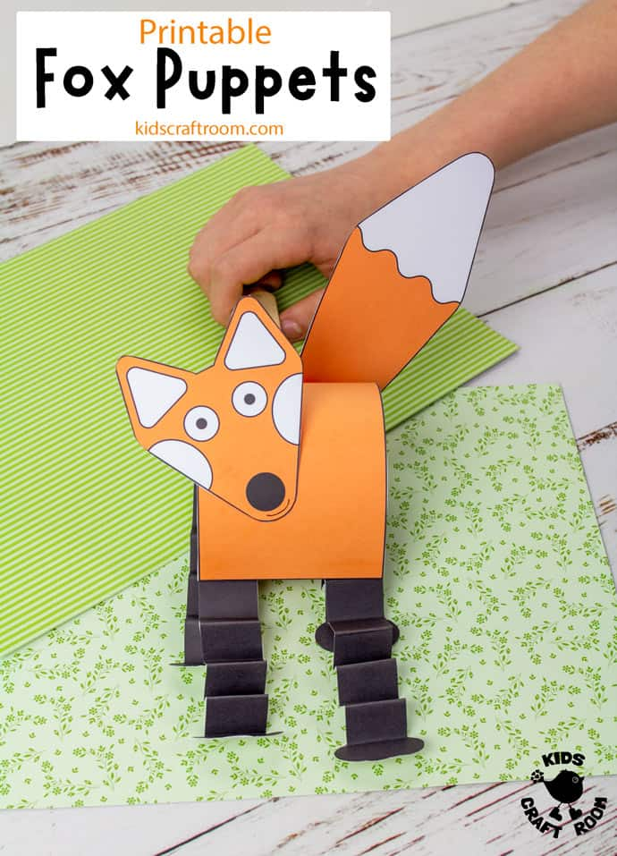 Printable Fox Puppet Craft pin image 2