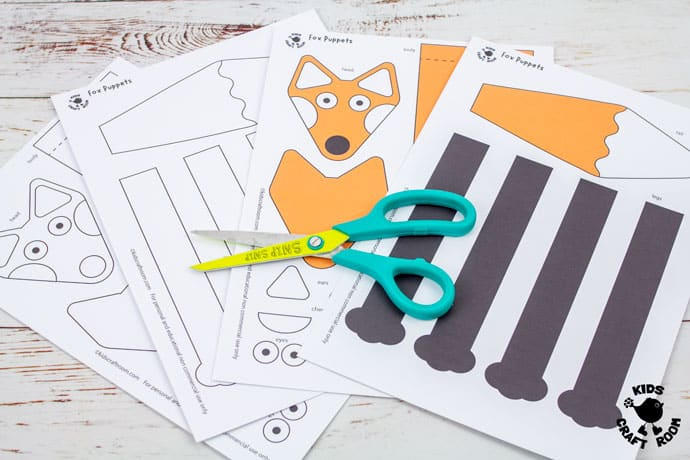 Printable Fox Puppet Craft step 1