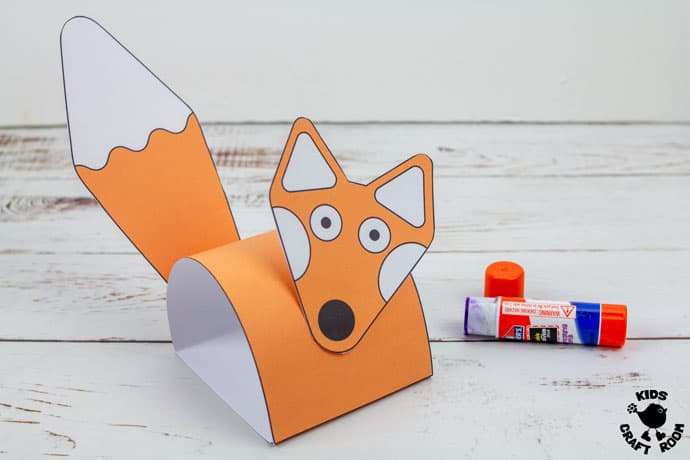 Printable Fox Puppet Craft step 6