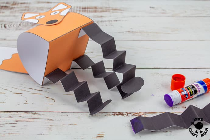 Printable Fox Puppet Craft step 8