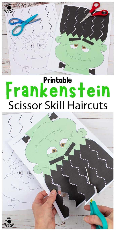 Frankenstein Halloween Scissor Skills Haircut Activity pin image 1