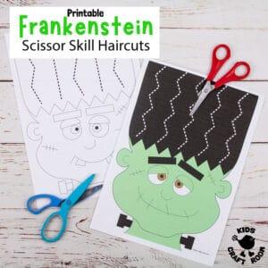 Frankenstein Halloween Scissor Skills Haircut Activity
