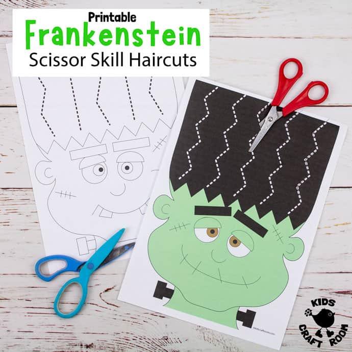 Frankenstein Halloween Scissor Skills Haircut Activity pin image 2