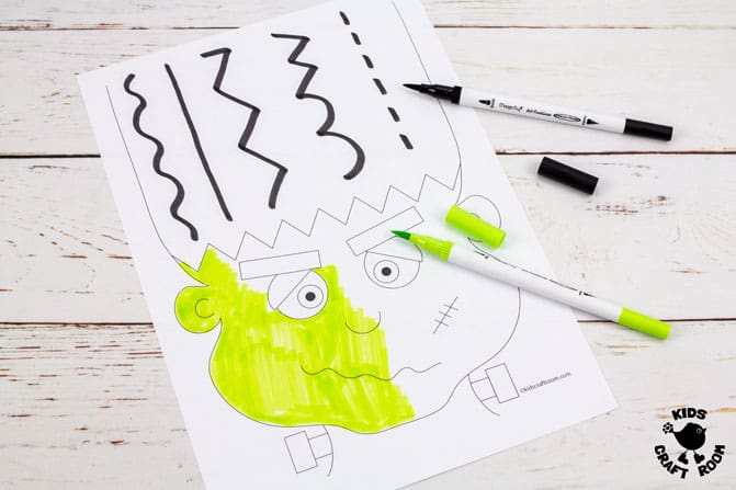 Frankenstein Halloween Scissor Skills Haircut Activity step 3