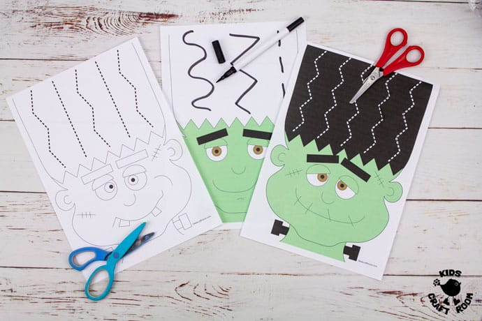 Frankenstein Halloween Scissor Skills Haircut Activity step 2