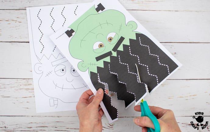 Frankenstein Halloween Scissor Skills Haircut Activity step 4