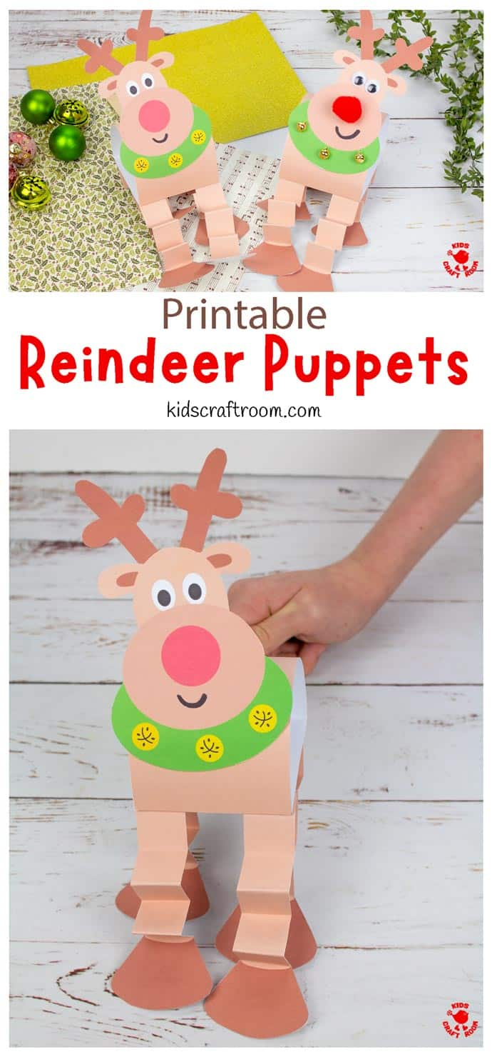 Reindeer Puppet Printable Craft pin 1