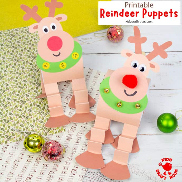 Reindeer Puppet Printable Craft square image