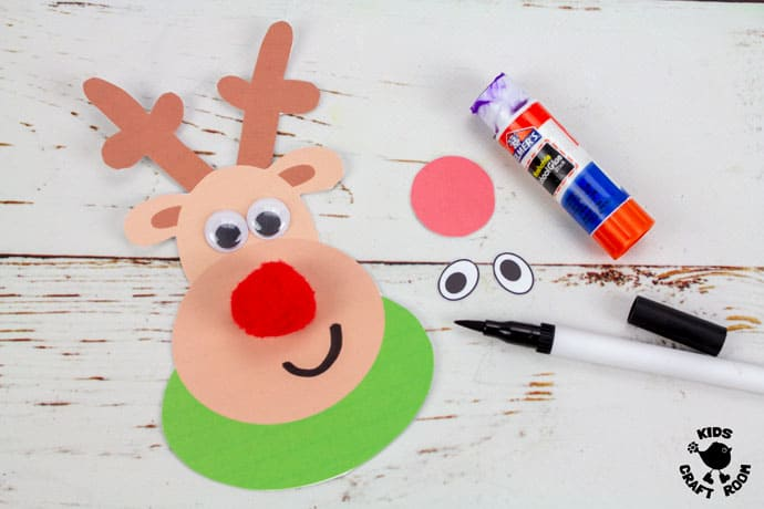 Reindeer Puppet Printable Craft step 3