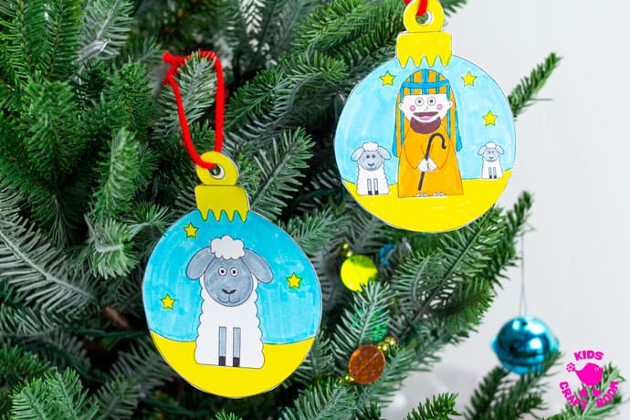 Printable Christmas Nativity Baubles To Colour In step 5