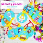 Printable Christmas Nativity Baubles To Colour In