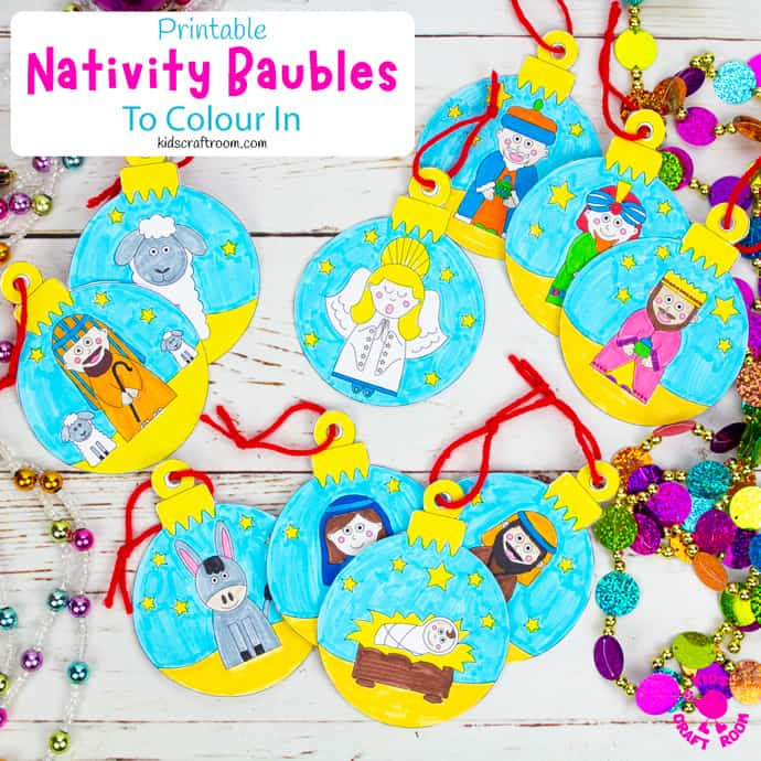 Printable Christmas Nativity Baubles To Colour In square image
