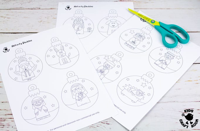 Printable Christmas Nativity Baubles To Colour In step 1