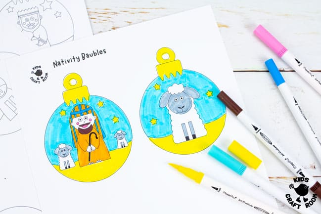 Printable Christmas Nativity Baubles To Colour In step 2