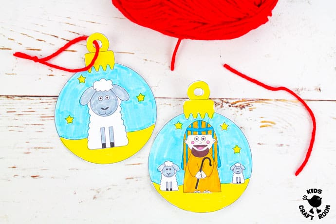Printable Christmas Nativity Baubles To Colour In step 4