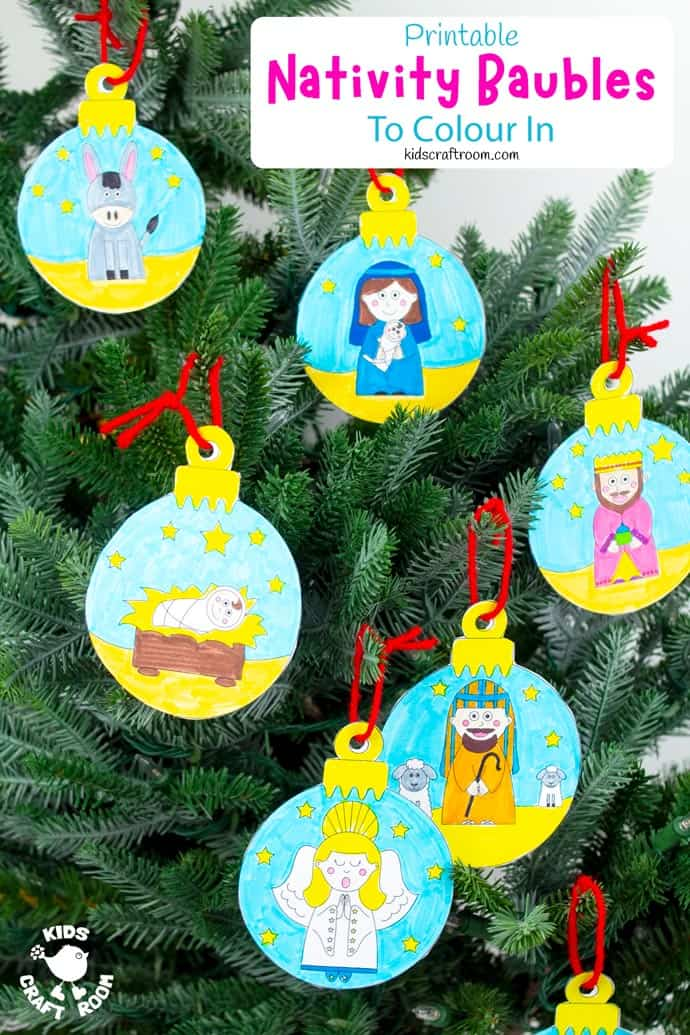 Printable Christmas Nativity Baubles To Colour In pin image 2