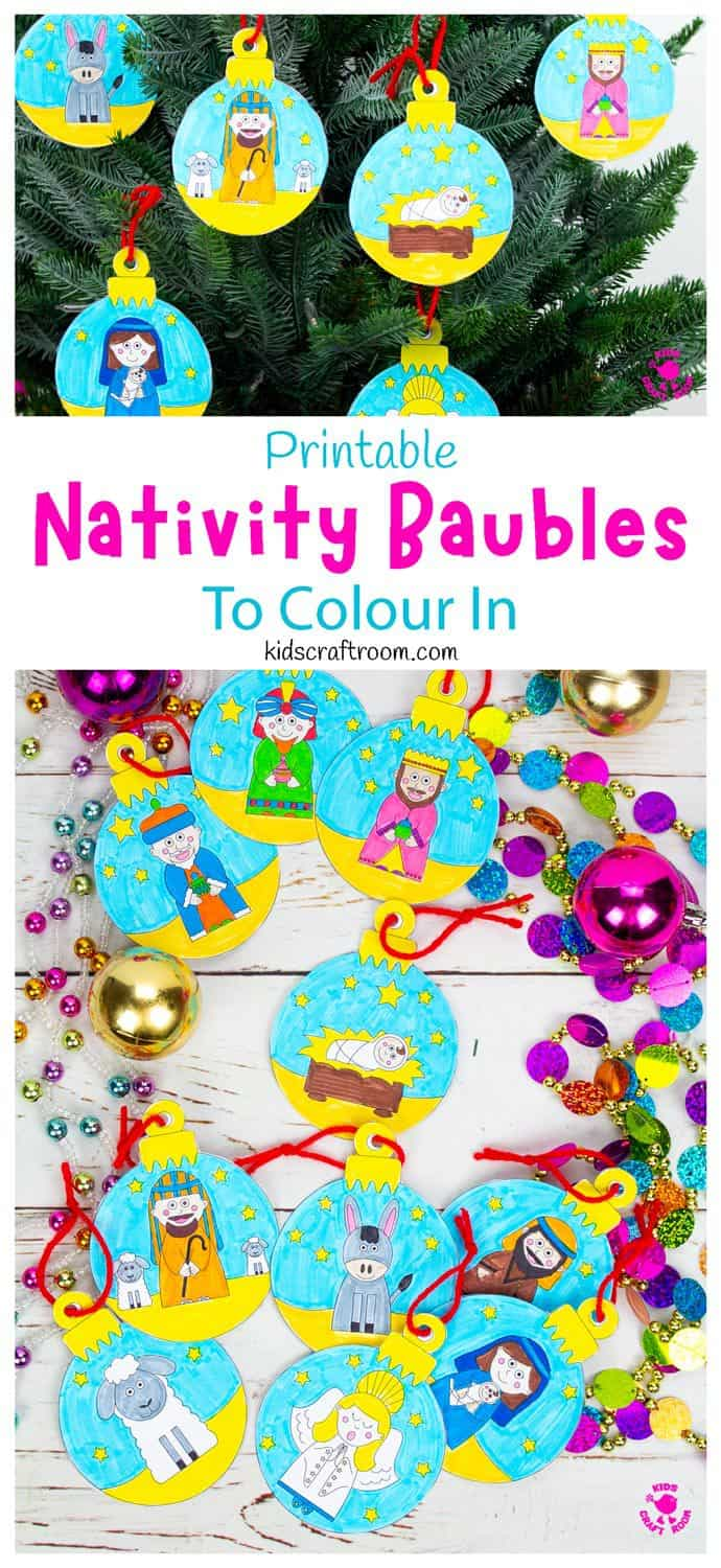 Printable Christmas Nativity Baubles To Colour In pin image 1