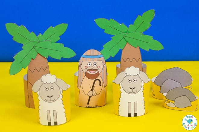 Printable Nativity Set - shepherd and sheep