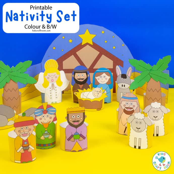 Printable Nativity Scene square image
