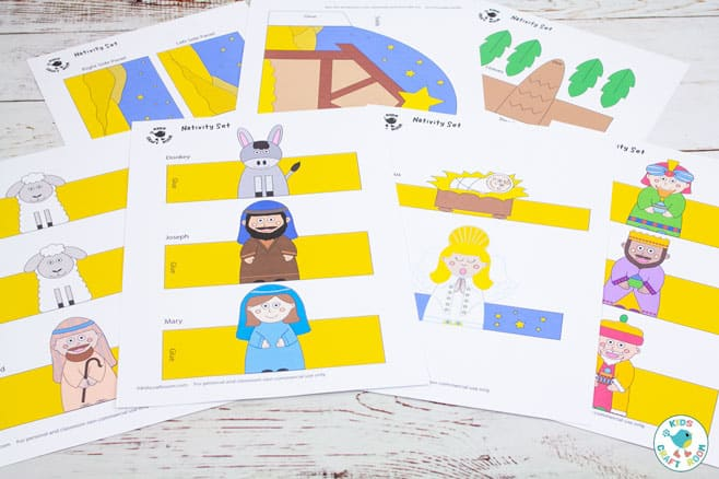 Printable Nativity Set coloured template