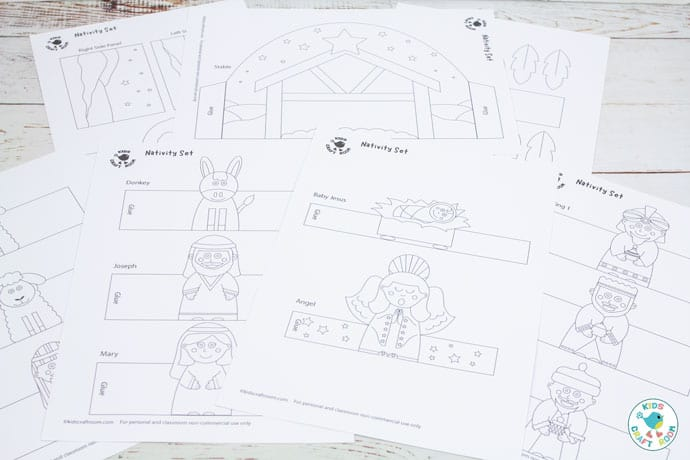 Printable Nativity Set black and white template