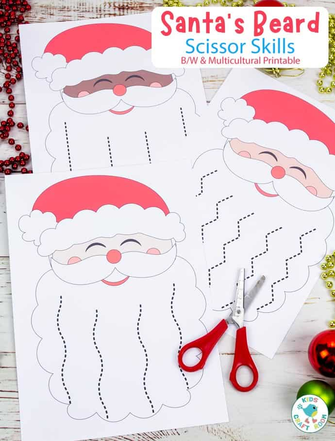 Santa's Beard Christmas Scissor Skills Activity pin image 4