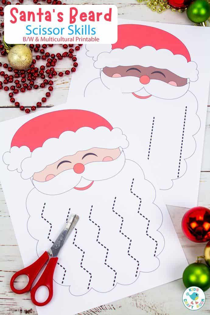 Santa's Beard Christmas Scissor Skills Activity pin image 1