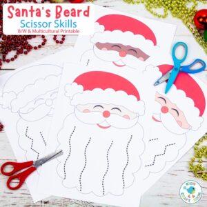 Santa's Beard Christmas Scissor Skills Activity