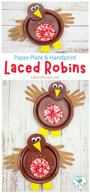 Paper Plate Robin Lacing Craft pin image 1