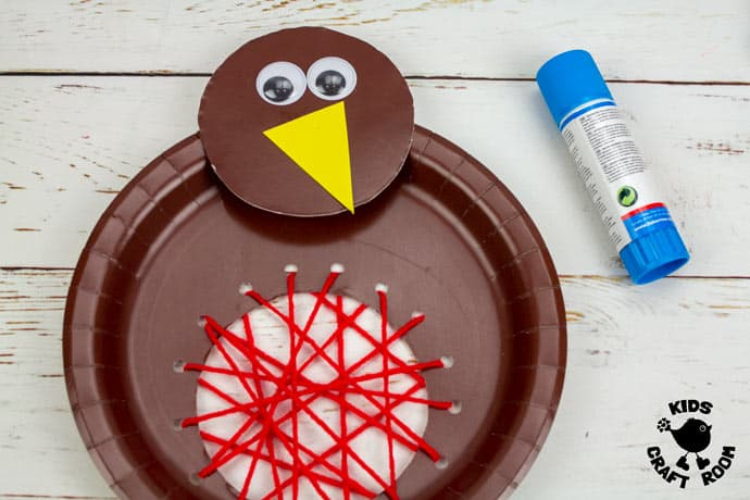Paper Plate Robin Lacing Craft step 8