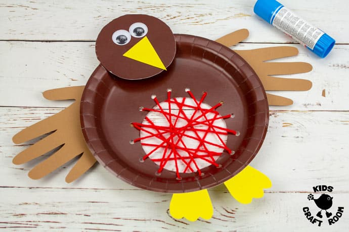 Paper Plate Robin Lacing Craft step 9