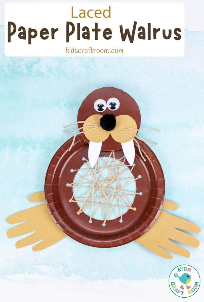 Laced Paper PLate Walrus Craft pin image 3