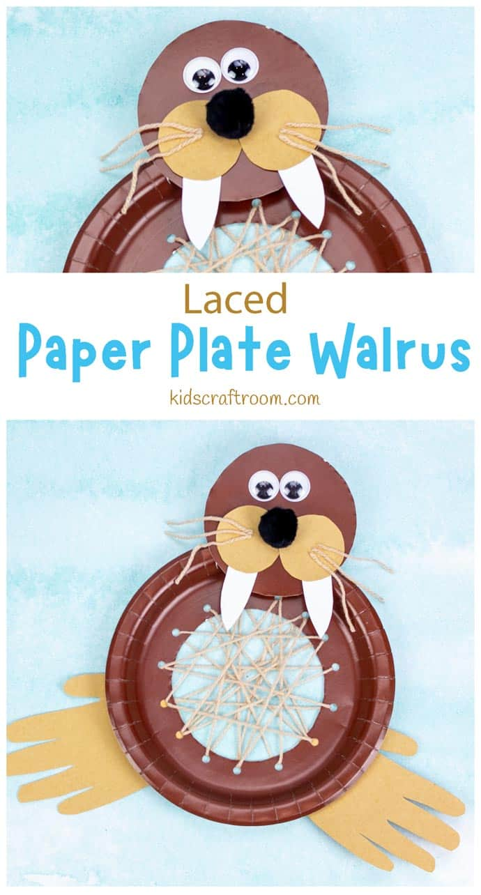 Laced Paper Plate Walrus Craft pin image 1