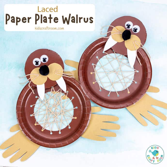 Laced Paper Plate Walrus Craft pin image 2