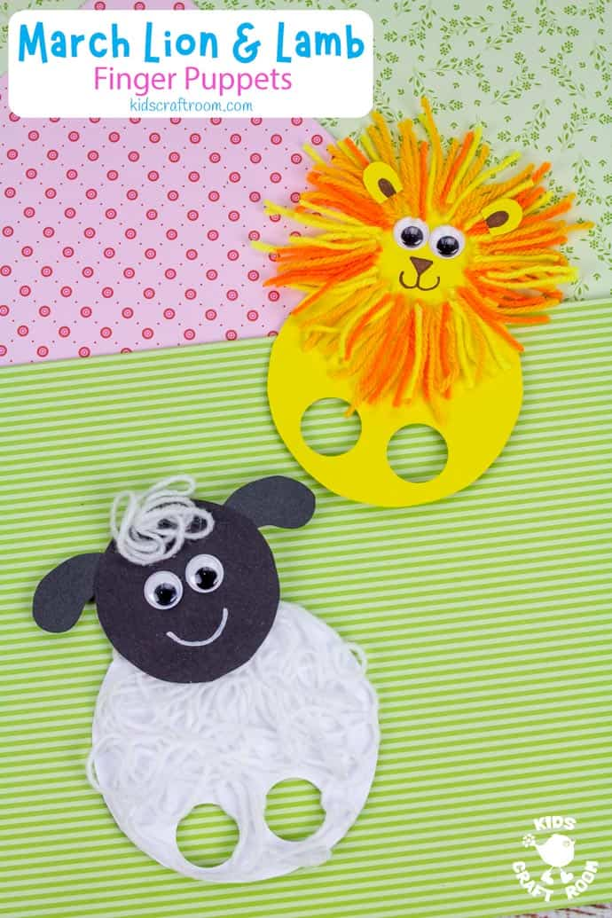 March Lion and Lamb Puppet Craft long pin image 2