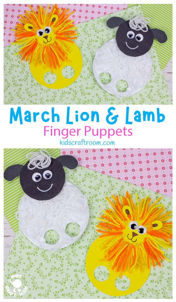 March Lion and Lamb Puppet Craft long pin image 1