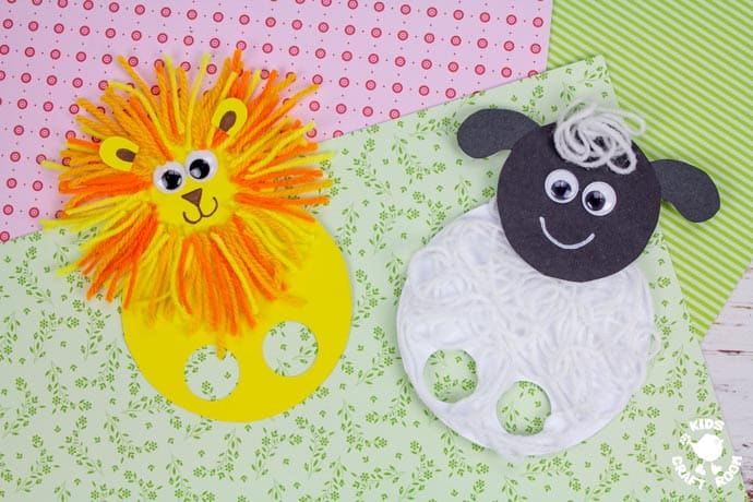 March Lion and Lamb Puppet Craft finished