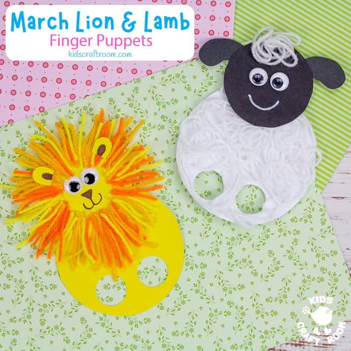 March Lion and Lamb Puppet Craft square image