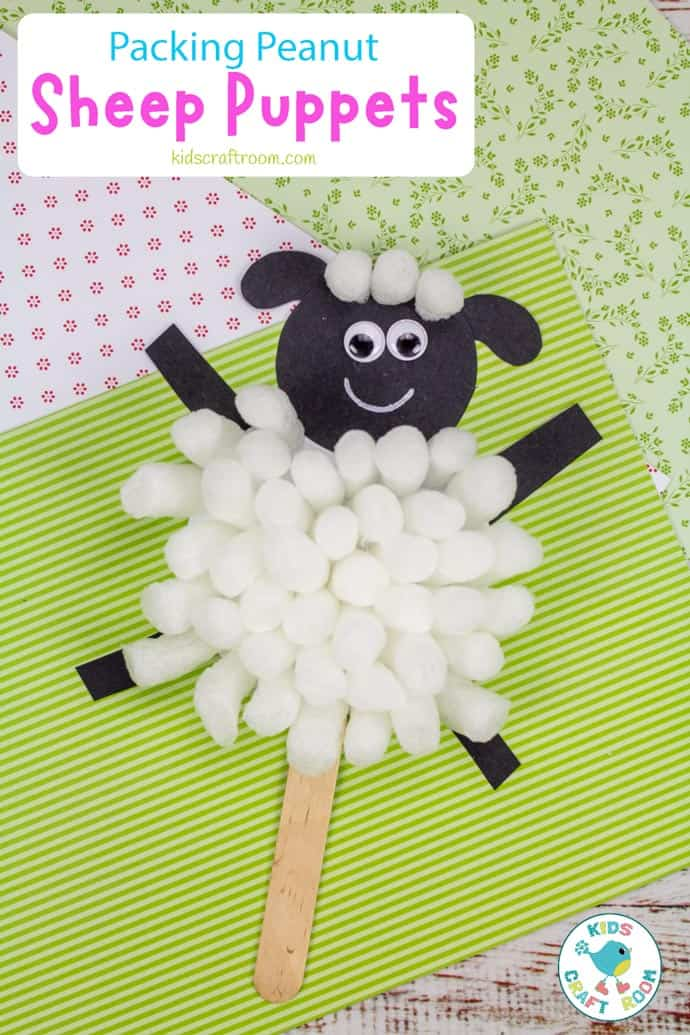 Packing Peanut Sheep Puppets pin image 2