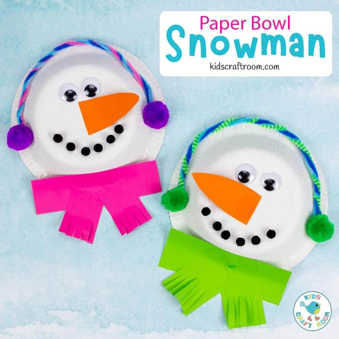 Paper Bowl Snowman Craft pin image square