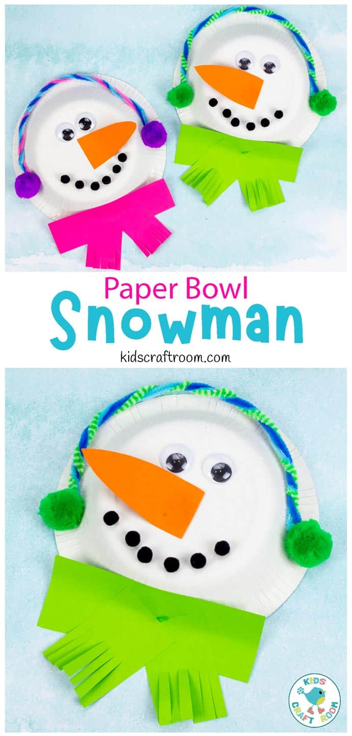 Paper Bowl Snowman Craft pin image 1